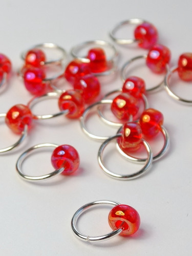 20 Pink Sunshine Big Bead Jewel Rings Lace Markers 4mm