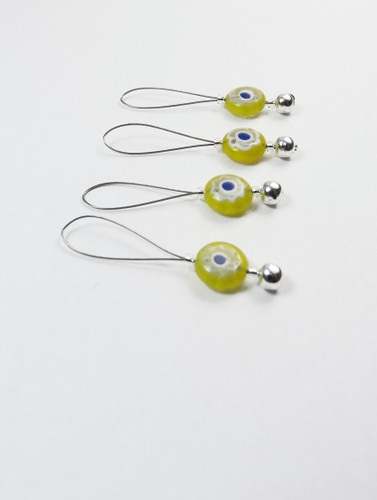 Set of 4 Looper Yellow millefiori stitch markers for 6mm needles