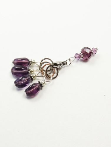 Purple twist drop Knitting Stitch Markers with keeper - set of 4