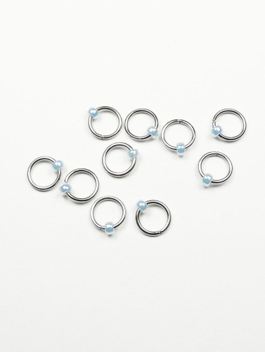 10 Ice Blue Jewel Ring Lace Markers 4mm