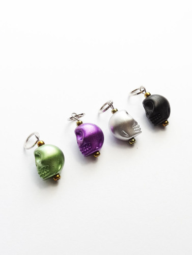 Mixed Skull Stitch Markers - Set of 4 -  4mm