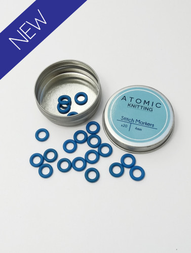 20 Lace Stitch Markers & Blue Tin 4mm|x20