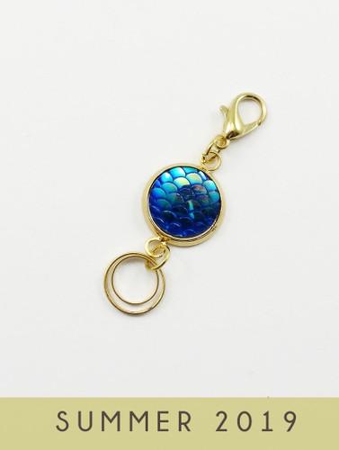 Midnight Mermaid Gold Stitch Marker Trio