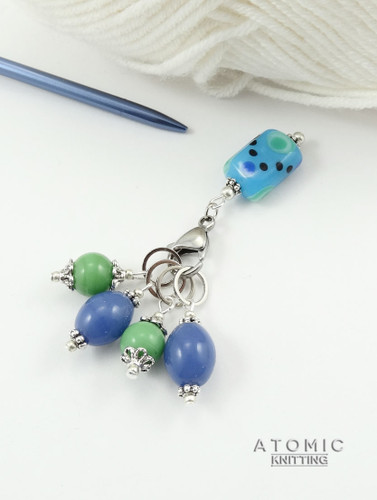 Blue Green Lampwork Stitch Marker Set