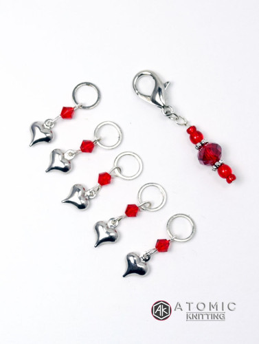 """""""All Heart"""" Silver Heart & Crystal Stitch Markers - set of 6 - BHF Charity Edition"""