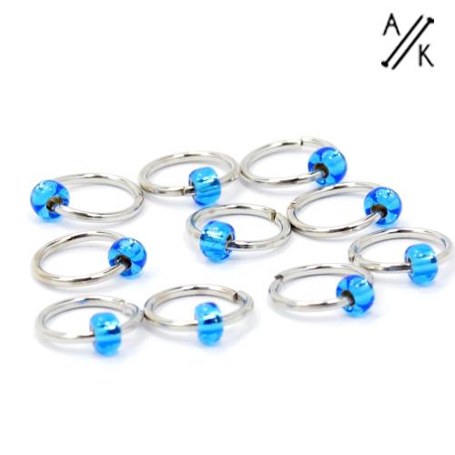 Burly Blue 5mm Jewel Stitch Markers