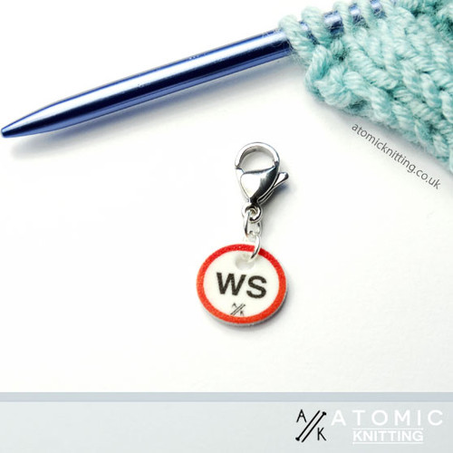 Instructional Stitch Marker (shown with crochet clip)