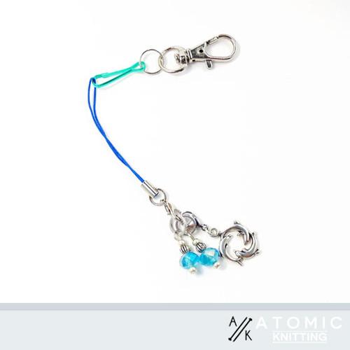 Dolphin Circle & Aqua Crystal set of stitch markers 4mm needles