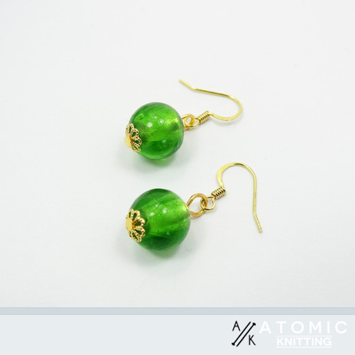 New! Green Glass Round Earrings