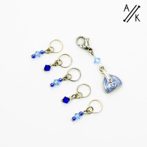 Blue Handbag Stitch Markers | Atomic Knitting