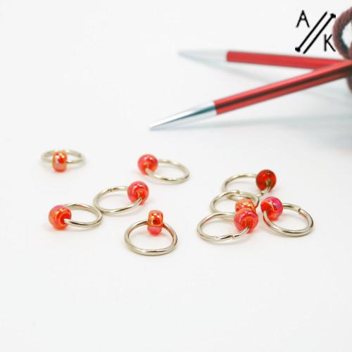 Reds Jewel Stitch Markers | Atomic Knitting