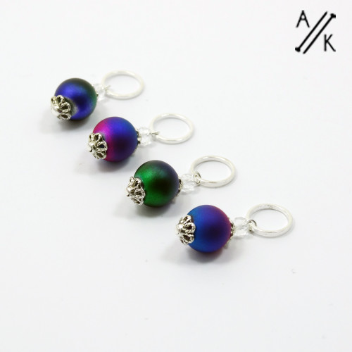 Festive Bauble Stitch Markers in Shimmer Purple, Green & Blue