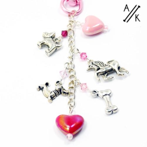 Pink Love Dogs Swarovski Crystal Handbag Charm Dangle