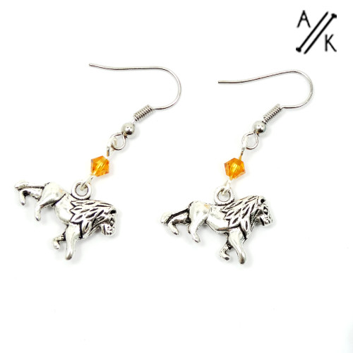 Lion & Crystal Earrings | Atomic Knitting