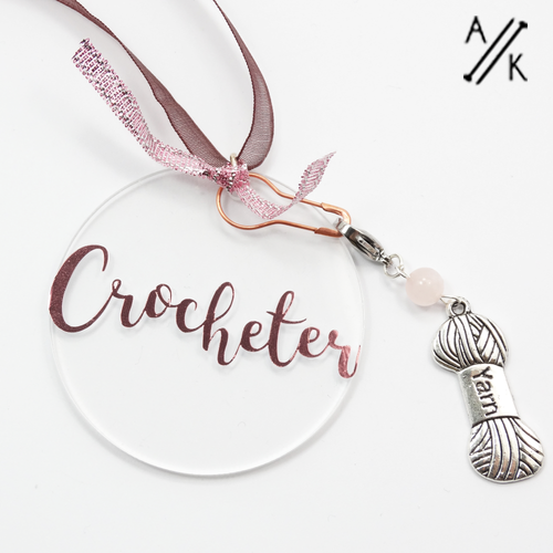 Crocheter Tree Decoration with Stitch Marker | Atomic Knitting