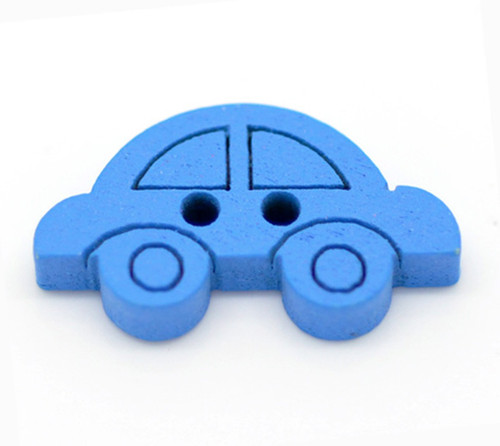 Blue car wood button