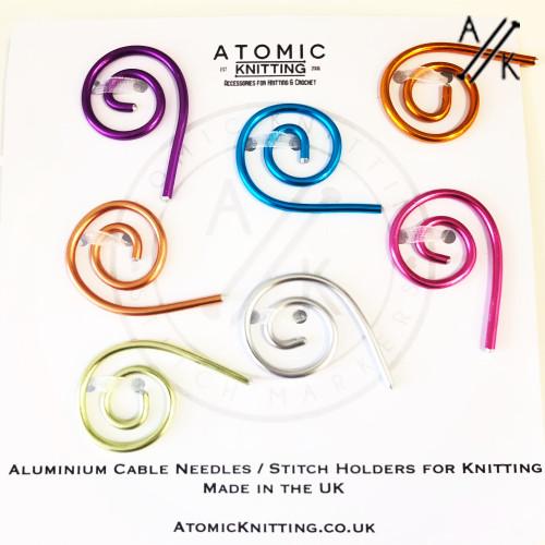 Set of 7 Aluminium Spiral Cable Needle Stitch Holders | Atomic Knitting