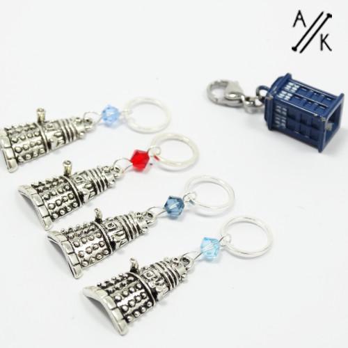 Swarovski Crystal & Dalek Stitch Marker Set