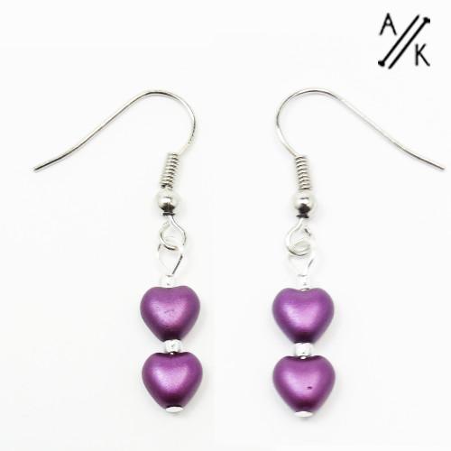 Purple Pearlised Heart Earrings