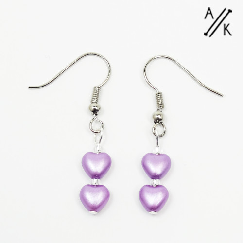 Lilac Pearlised Heart Earrings