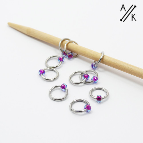 Tiny Blueberry Jewel  Stitch Markers   Atomic Knitting