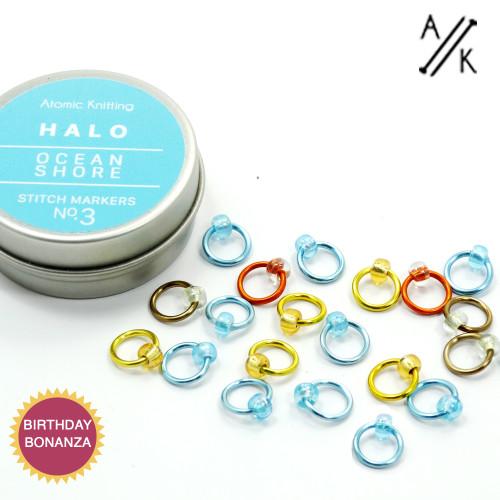 Halo Stitch Markers & Tin   Atomic Knitting