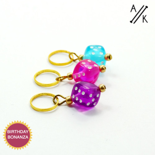 Set of 3 Mixed Dice 4mm Stitch Markers