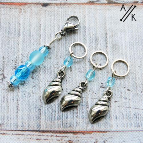 New! Aqua & Silver Shell 4mm Stitch Markers  & Progress Keeper