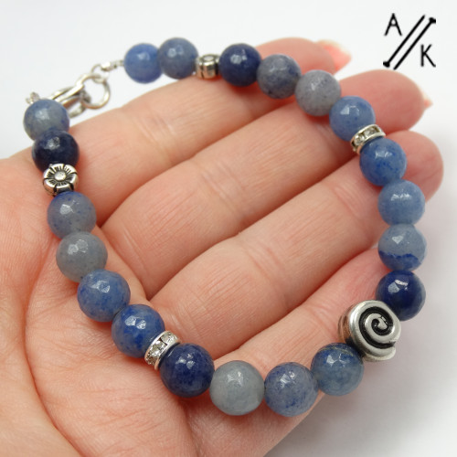 New! Natural Blue Aventurine Healing Beaded Bracelet  | Atomic Knitting