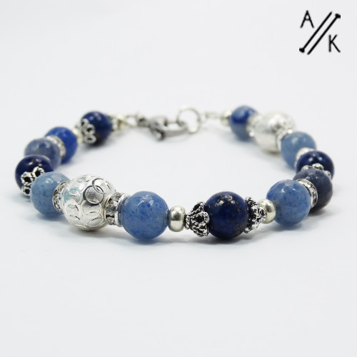 New! Natural Lapis Lazuli & Blue Aventurine Healing Beaded Bracelet | Atomic Knitting