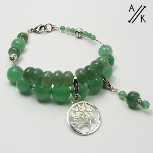 Natural Green Aventurine Abacus Counting Knitters Bracelet
