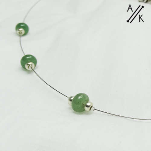 Natural Green Aventurine Floating Necklace