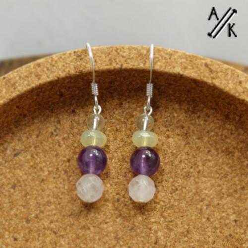 Mixed Gemstone Earrings | Atomic Knitting