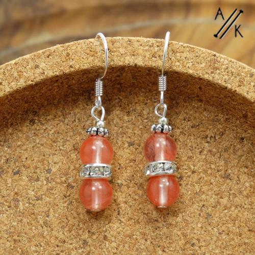 Cherry Quartz Gemstone Earrings | Atomic Knitting