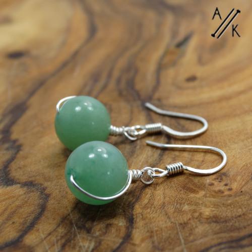 Green Aventurine Wire Wrap Earrings   Atomic Knitting