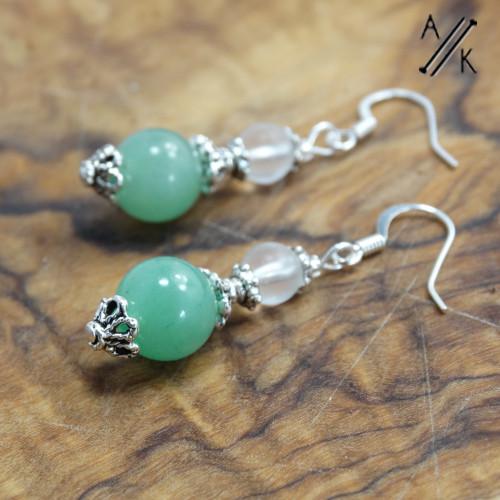 Green Aventurine Dangle Earrings | Atomic Knitting