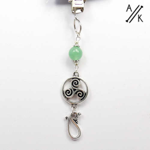 Green Aventurine Gemstone Celtic Design Portuguese Knitting Pin