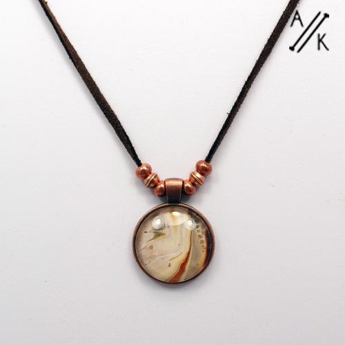 OOAK Copper Pendant Brown Cord Adjustable Necklace - SECONDS