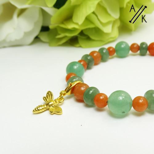 Natural Red & Green Aventurine Dragonfly Beaded Stretch Bracelet | Atomic Knitting