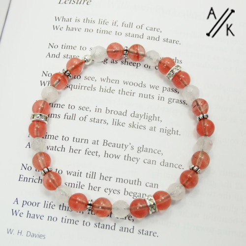 Cherry Quartz Rhinestone Healing Beaded Stretch Bracelet | Atomic Knitting