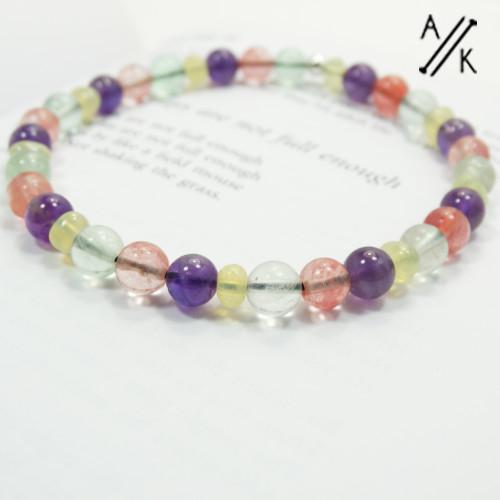 New! Amethyst, Cherry Quartz & Fluorite Beaded Stretch Bracelet   Atomic Knitting