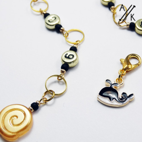 Whale & Wave Gold Numbered Chain Row Counter | Atomic Knitting