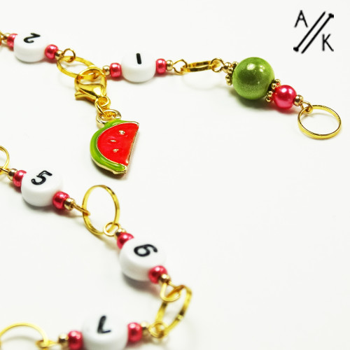 Watermelon Gold Numbered Chain 99 Row Counter  | Atomic Knitting