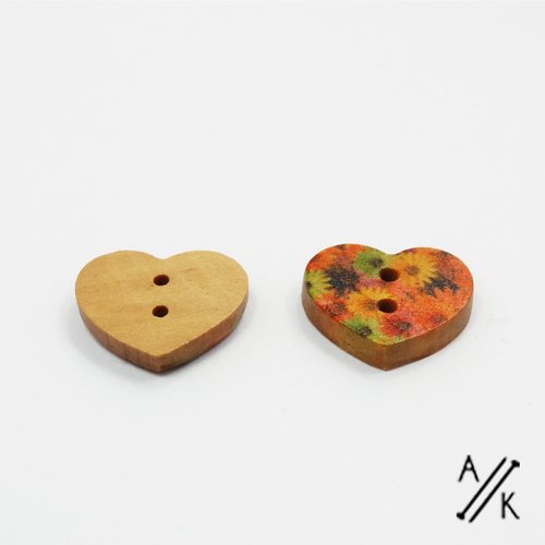 Wooden Flower Button 15mm | Atomic Knitting