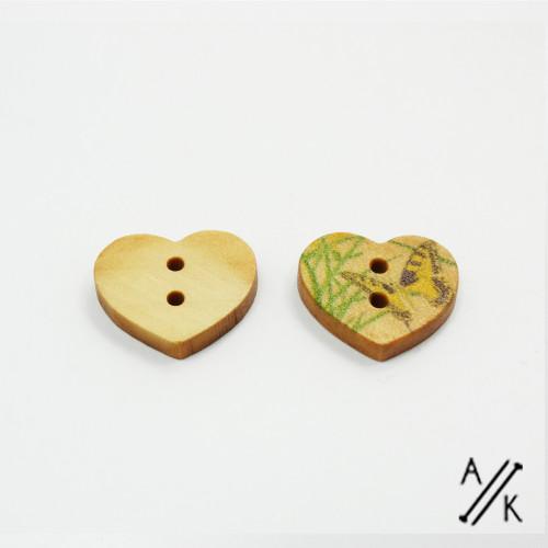 Heart Shape Wooden Buttons - Meadow Butterflies- 17 x 15mm | Atomic Knitting