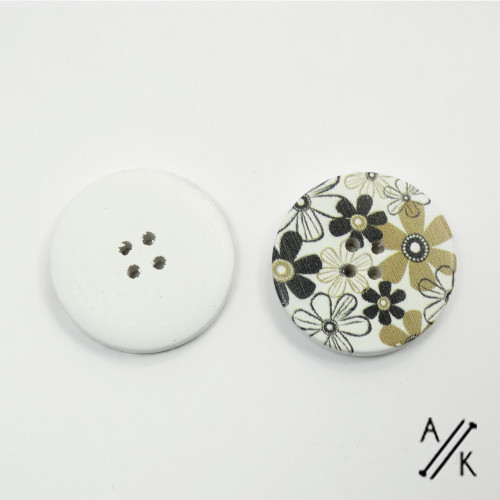 Round wooden Buttons - Neutral Flowers - 30mm | Atomic Knitting