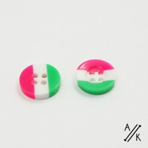 Round Watermelon Stripe Acrylic Button 4 holes - 12mm | Atomic Knitting