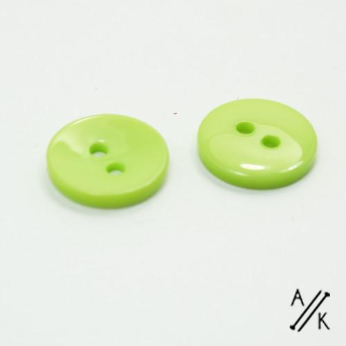 Round Green Plain Acrylic Button 2 holes - 15mm | Atomic Knitting