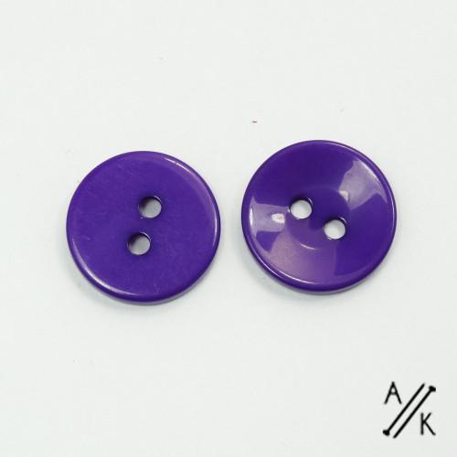 Round Purple Plain Acrylic Button 2 holes - 15mm | Atomic Knitting