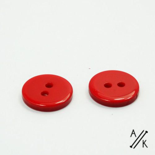 Round Red Plain Acrylic Button 2 holes - 15mm | Atomic Knitting